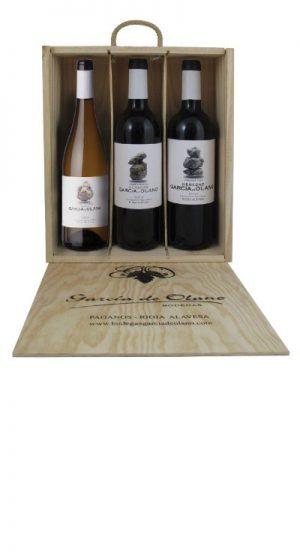 Dřevěná kazeta 3 lahve García de Olano